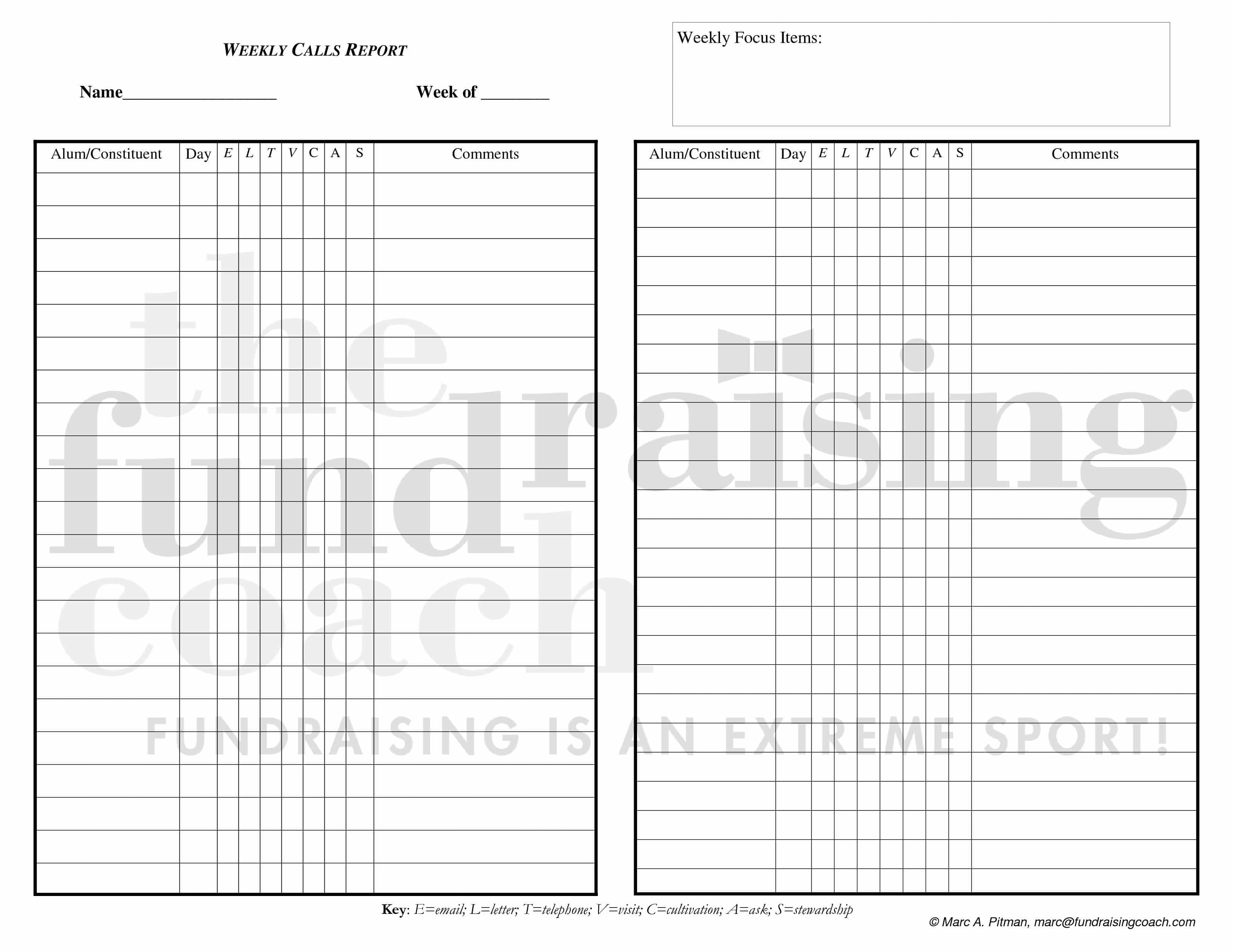 weekly sales call sheet template – Sample Call Sheet