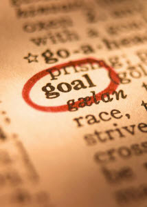 Picture of the word 'goal' in a dictionary
