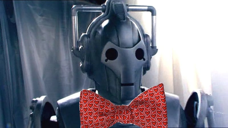 Spoof of a Doctor Who Cyberman with bowtie celebrating Cyber-Monday Sale