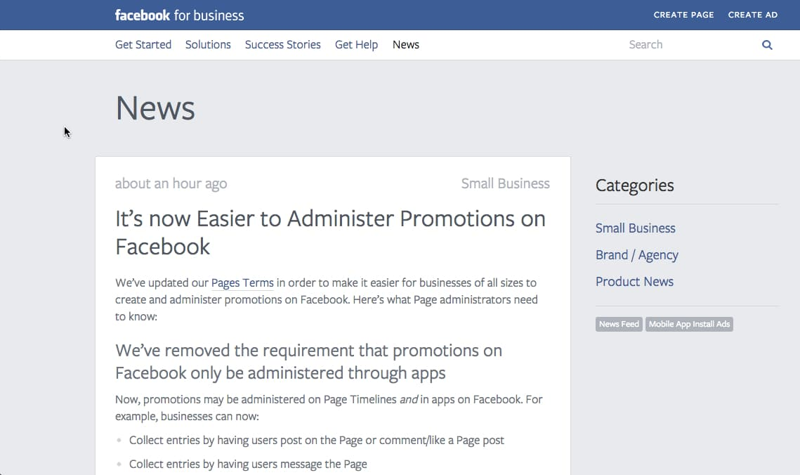 Screenshot of FB blog -Facebook Promotions just got easier for nonprofits
